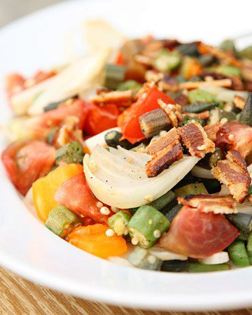 Sauteed Okra with Heirloom Tomatoes and Bacon