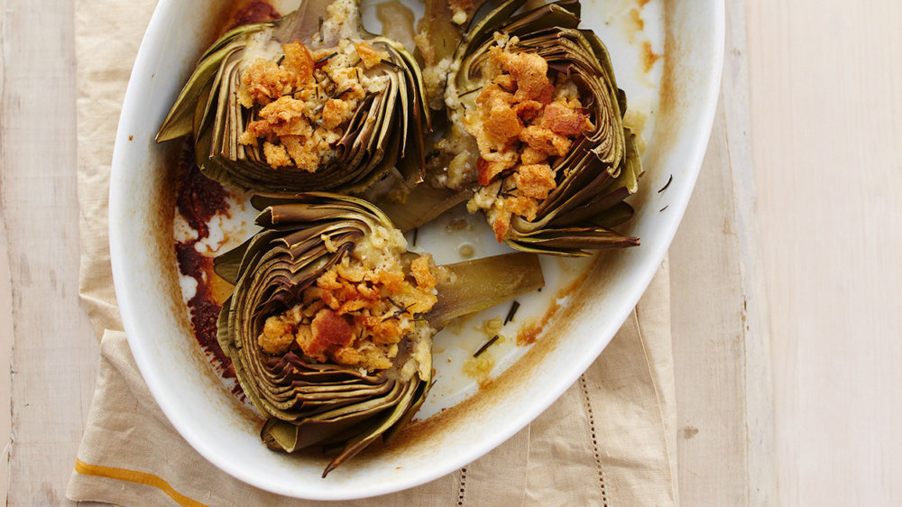 Baked Artichokes with Breadcrumbs