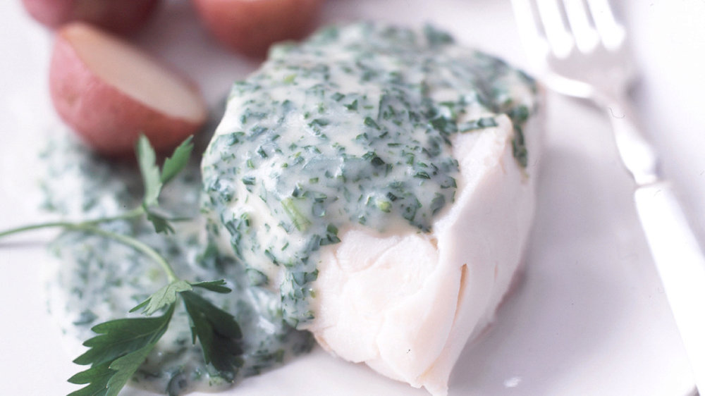 Poached Cod with Parsley Sauce
