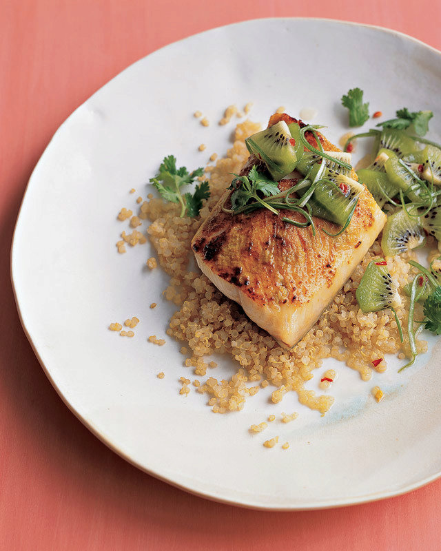 Black Cod with Quinoa and Kiwi Salsa