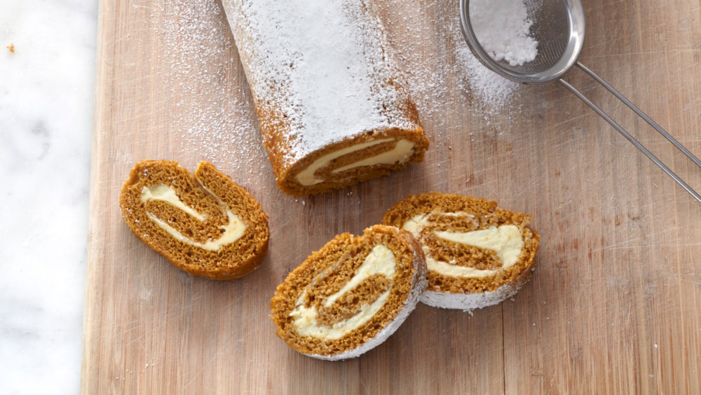 Pumpkin Roulade with Mascarpone and White Chocolate