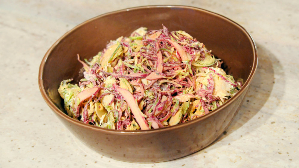 Red Cabbage and Shaved Brussels Sprout Salad