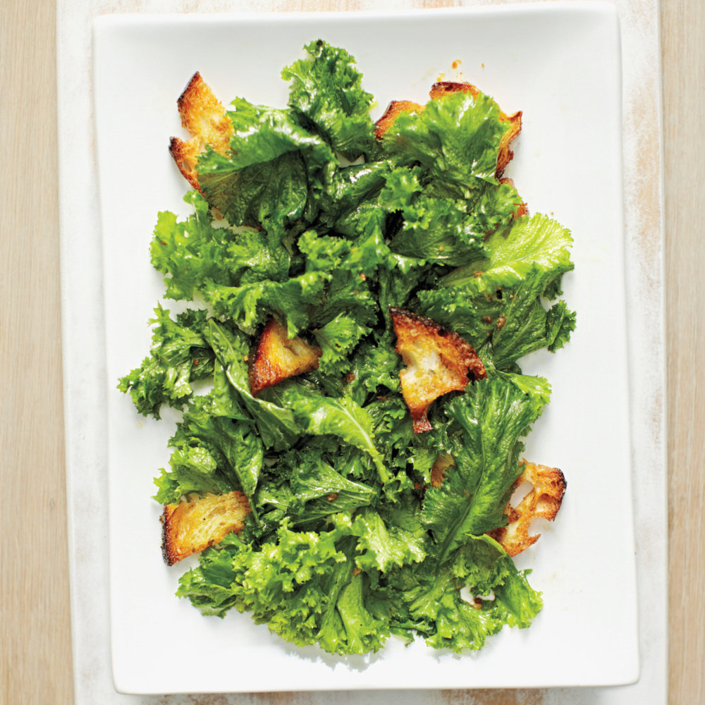 Mustard Greens Salad with Anchovy Croutons