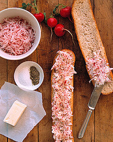 Radish Butter on Toasted Baguette