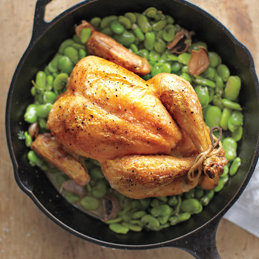 Roast Chicken with Fava Beans