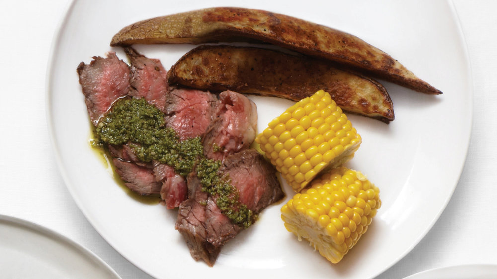 Flank Steak with Corn and Potato Wedges