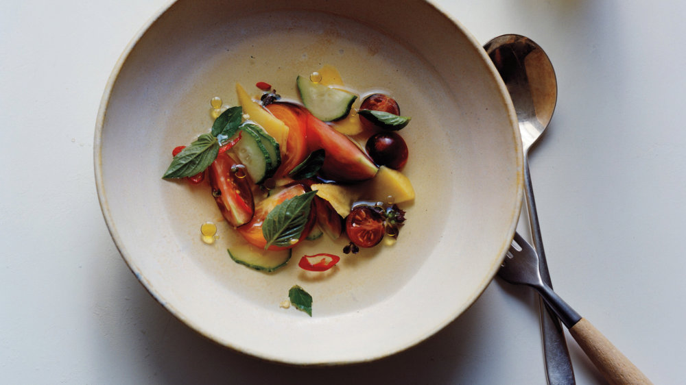Tomato and Mango Salad with Chiles and Tomato Essence