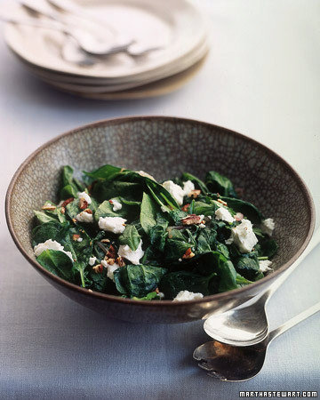 Sauteed Spinach with Pecans and Goat Cheese