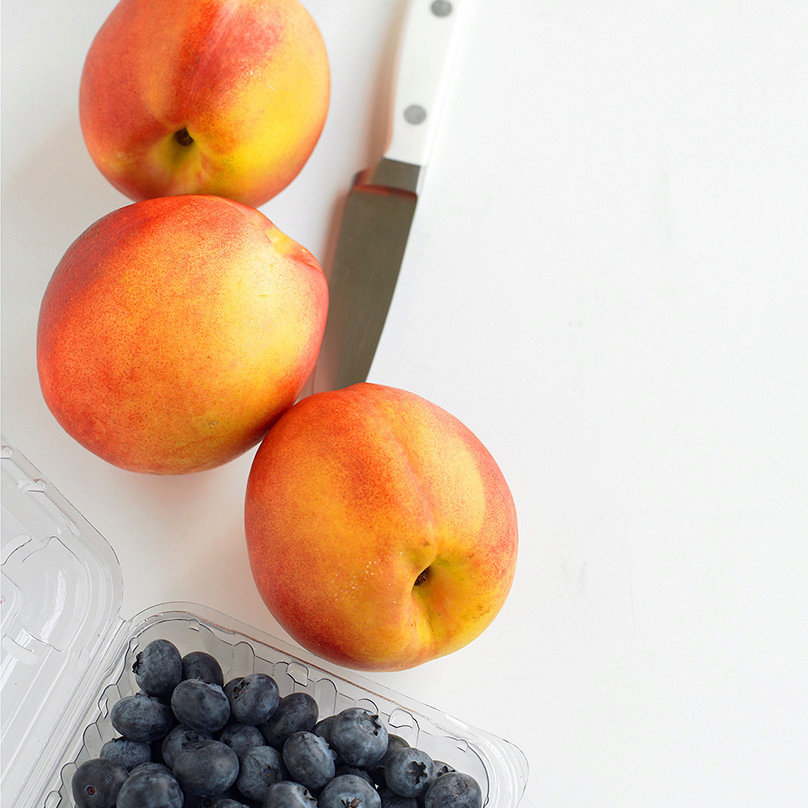 Grilled Nectarines with Blueberries