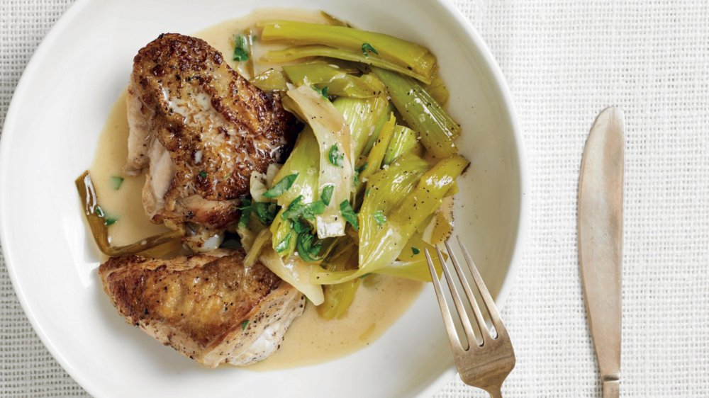 Normandy-Style Chicken and Leeks with Creme Fraiche