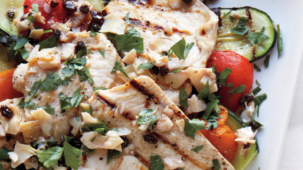 Grilled Chicken and Vegetables with Parsley Vinaigrette