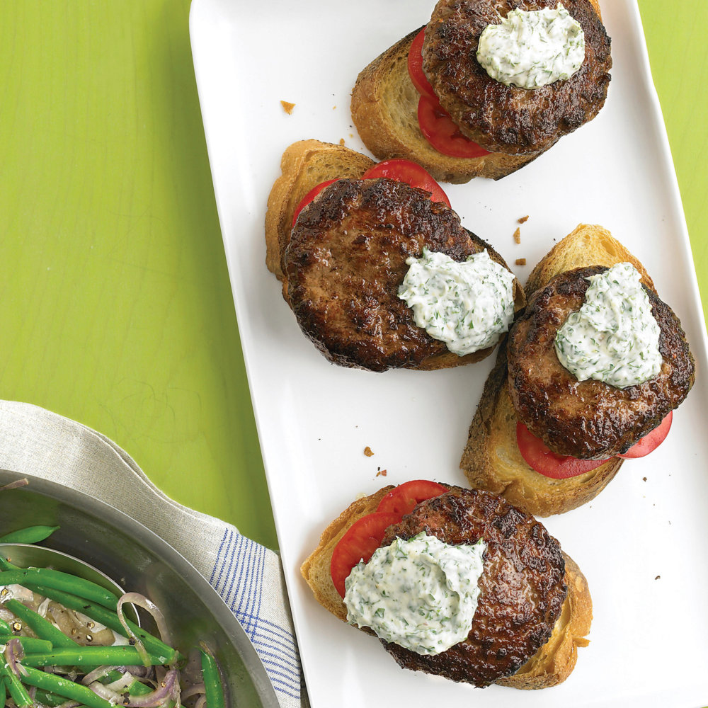 Open-Faced Burgers with Horseradish Sauce and Green Beans