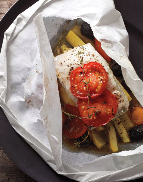 Halibut, Squash, Tomatoes, and Olives