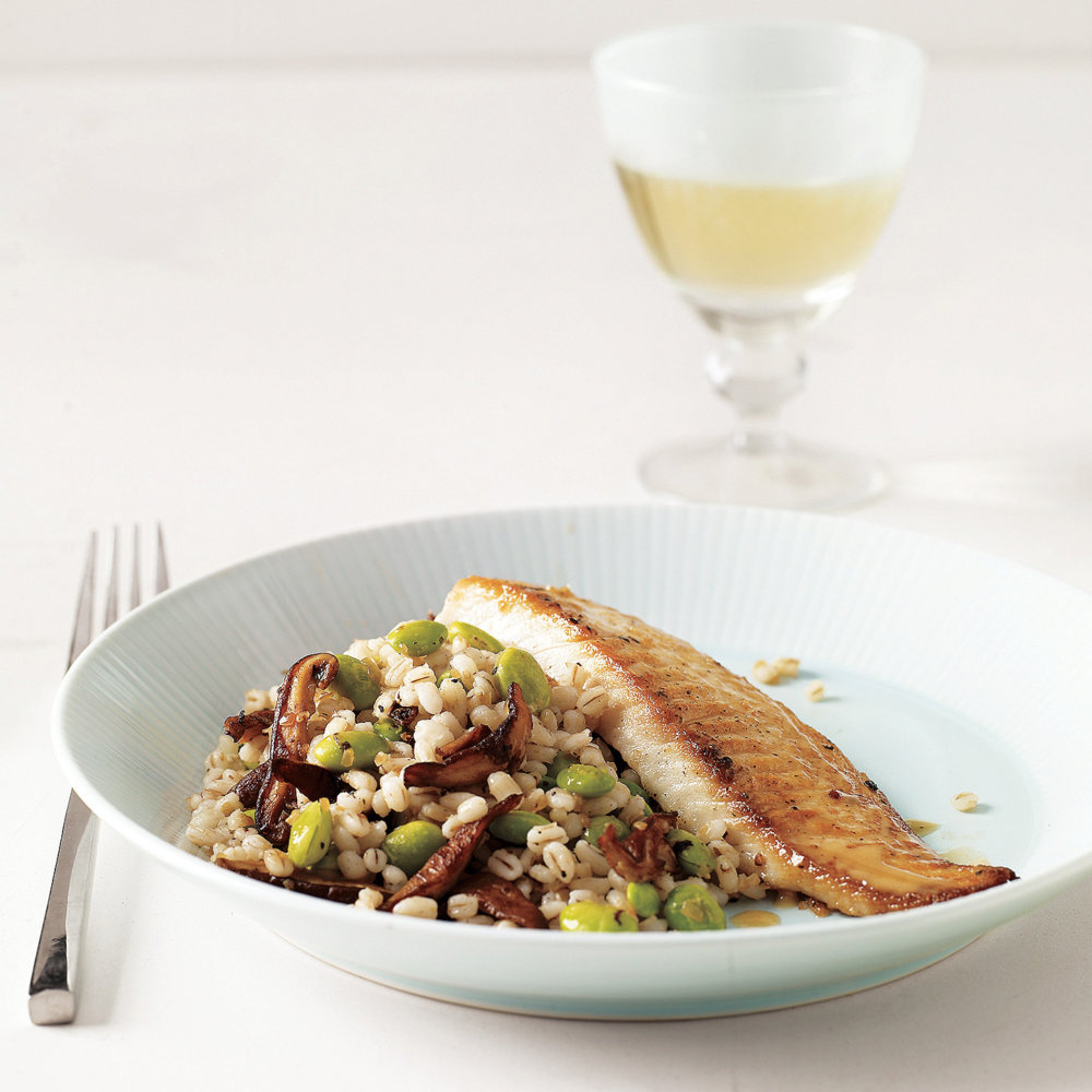Tilapia with Barley, Shiitake, and Edamame Salad