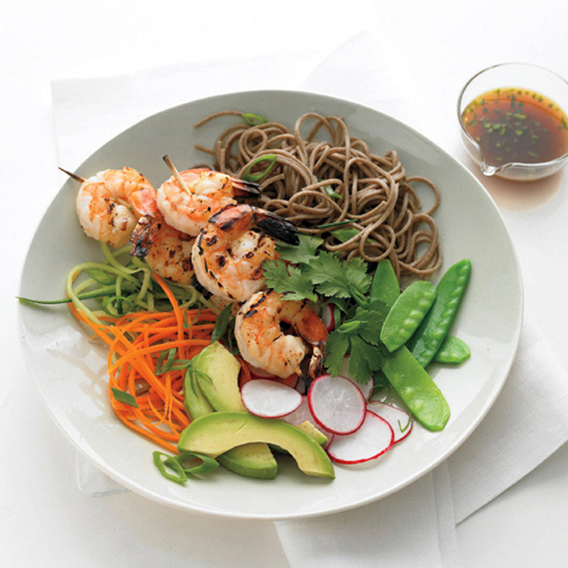 Soba Noodles with Grilled Shrimp and Orange Dipping Sauce