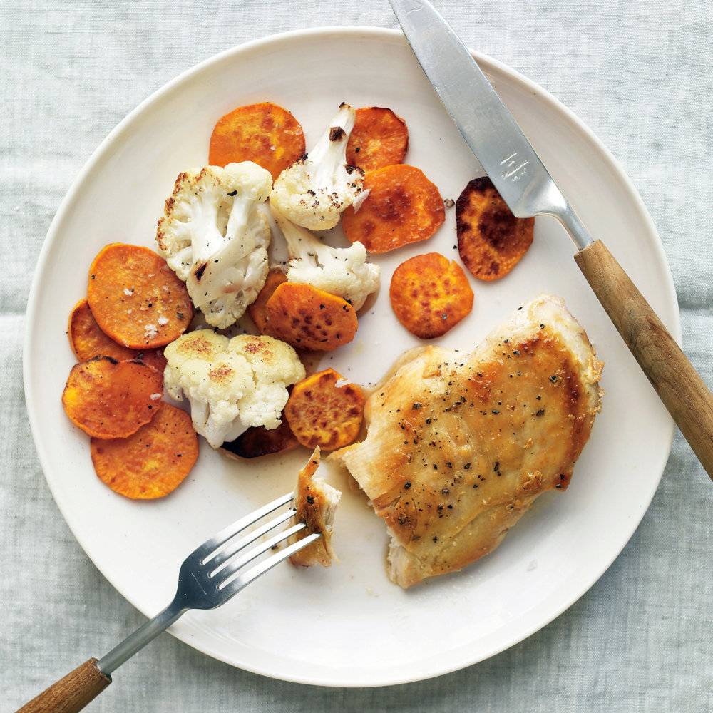 Chicken with Sweet Potatoes and Cauliflower