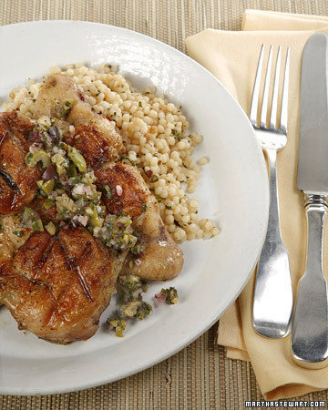 Spatchcocked Cornish Game Hens with Lemon and Olive Relish