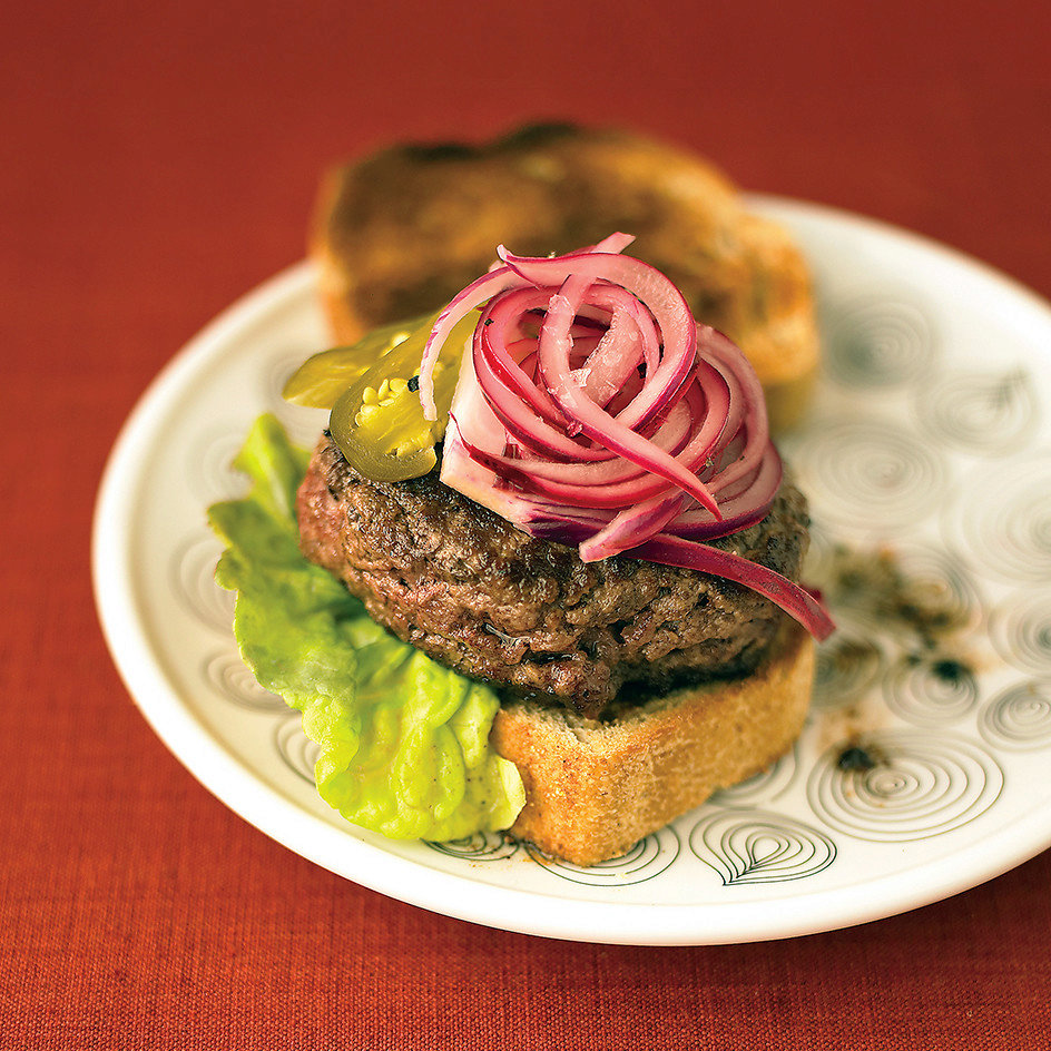 Burgers with Lime and Red-Onion Relish