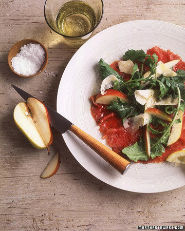 Beef Carpaccio with Pears and Arugula