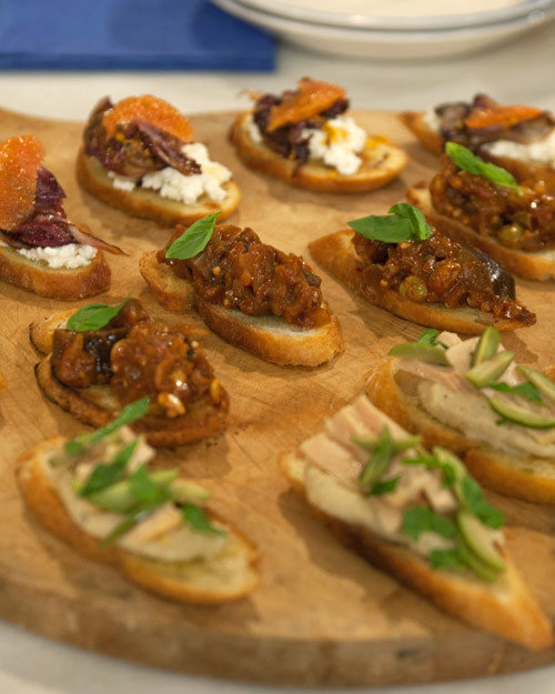 Crostini with Fresh Ricotta and Grilled Radicchio