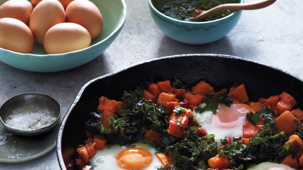 Squash Hash with Kale and Baked Eggs