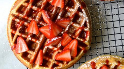 Buttermilk Waffles with Fresh Strawberry Syrup