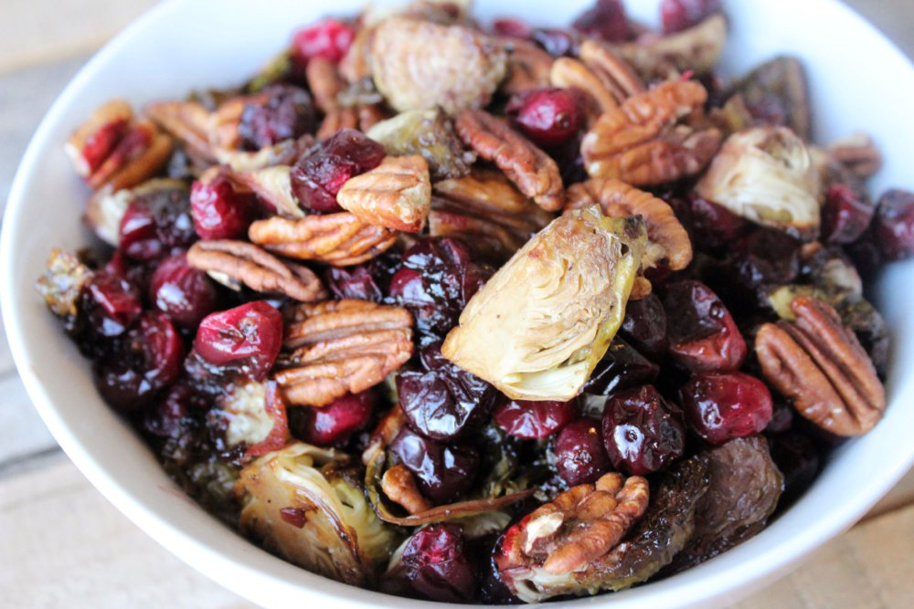 Roasted Brussels Sprouts, Cranberries and Pecans
