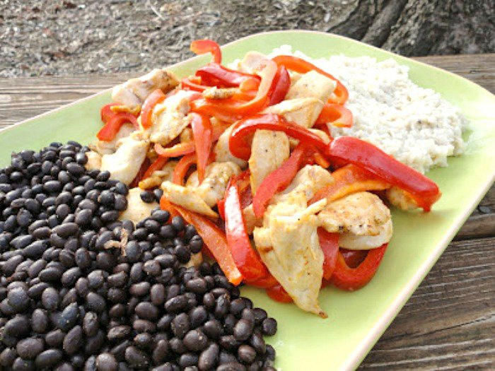 Sauteed Chicken, Black Beans and Coconut Rice