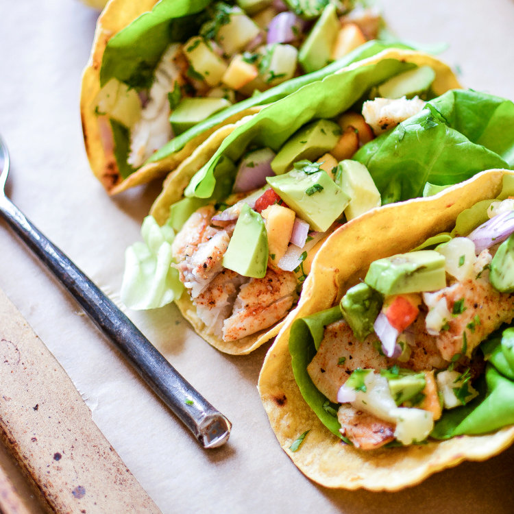Chipotle Chili Fish Tacos with Peach Pineapple Salsa