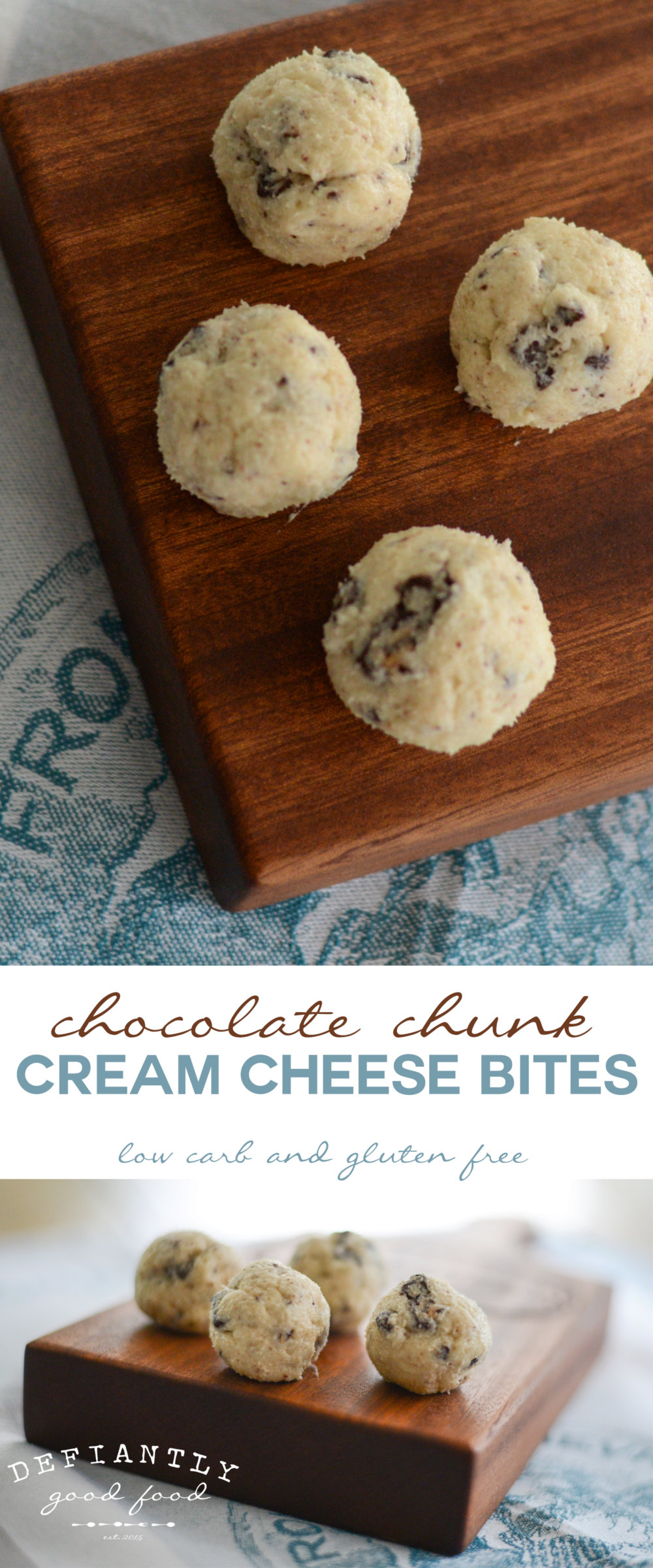 Chocolate Chunk Cream Cheese Bites       low carb        gluten free