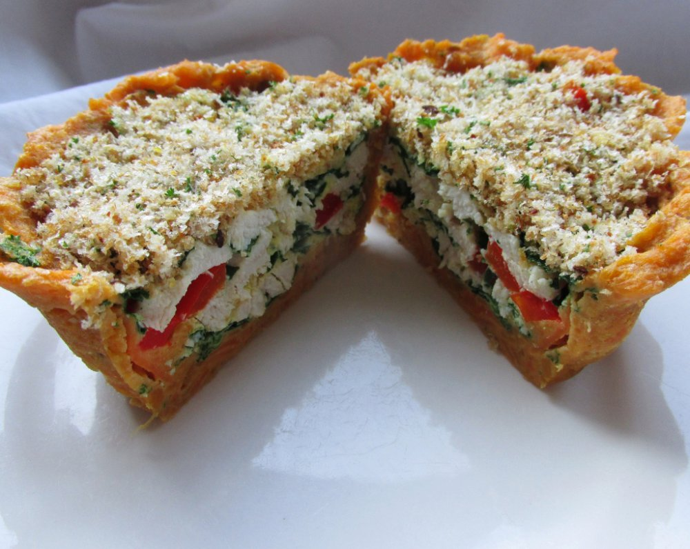 Delicious microwave pie for one, with a sweet potato crust