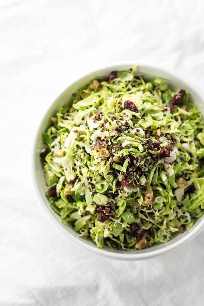 Shaved Shaved Brussels Sprout and Cranberry Salad | infinebalance.com