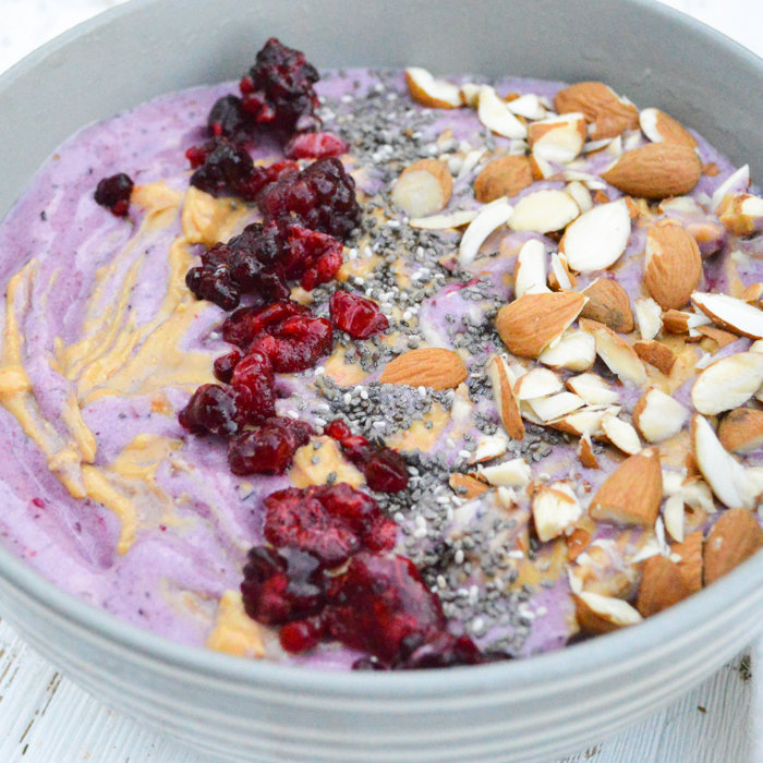 Ginger Berry Smoothie Bowl with Peanut Butter Drizzle