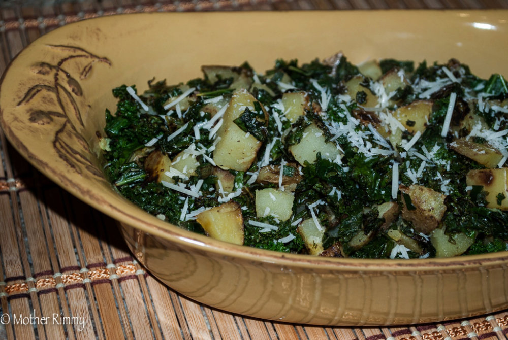 Kale and Potatoes with Parmesan Cheese
