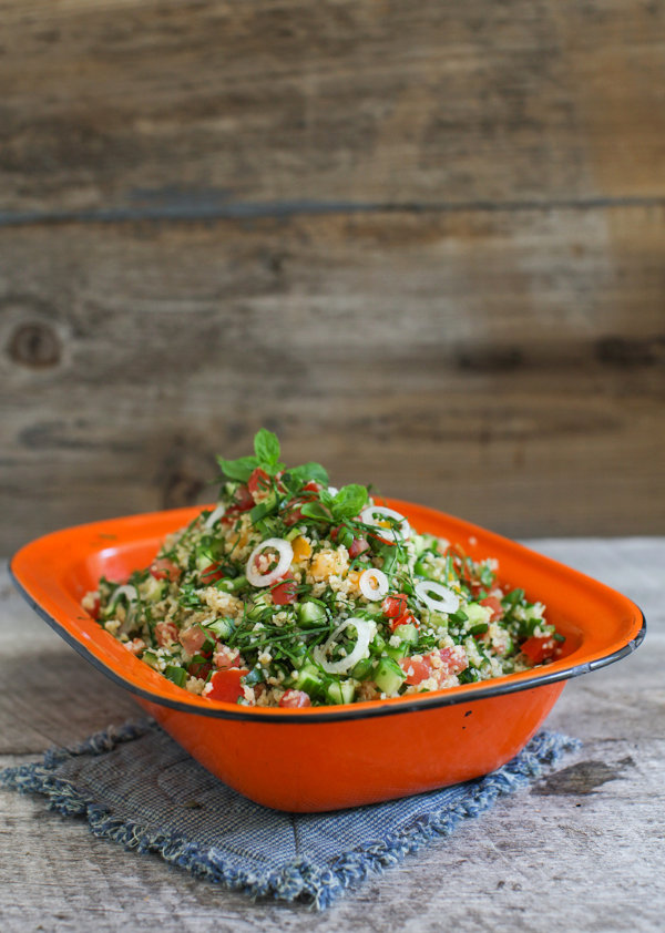 Kale Tabbouleh with Cucumber, Mint and Garlic Scapes