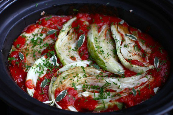Slow-cooker {lazy} cabbage rolls with brown rice & herbs