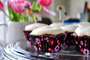 Carrot Cake Cupcakes with Honey and Cream Cheese Icing with a gluten-free option