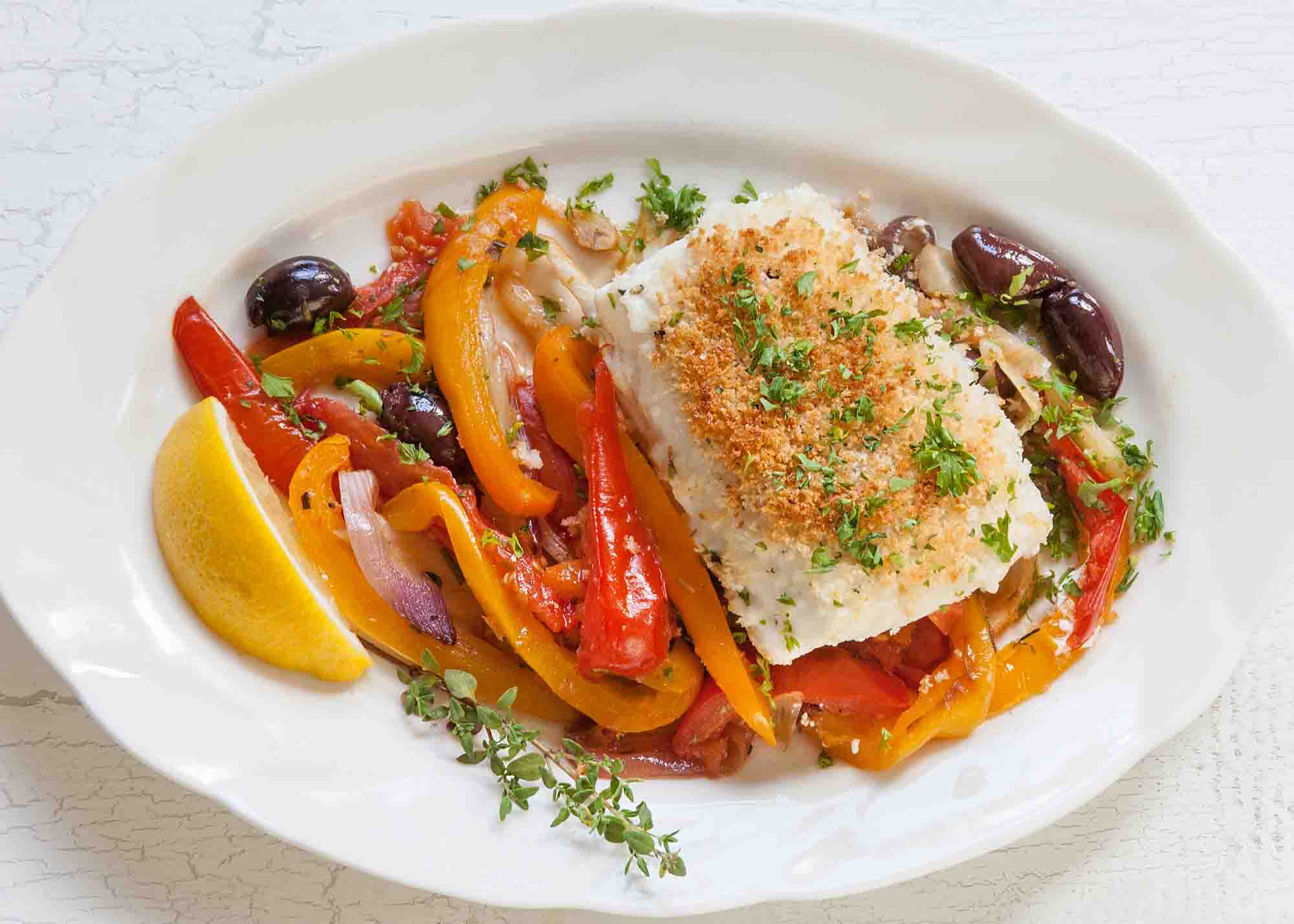 Halibut with Fennel, Peppers, and Tomatoes