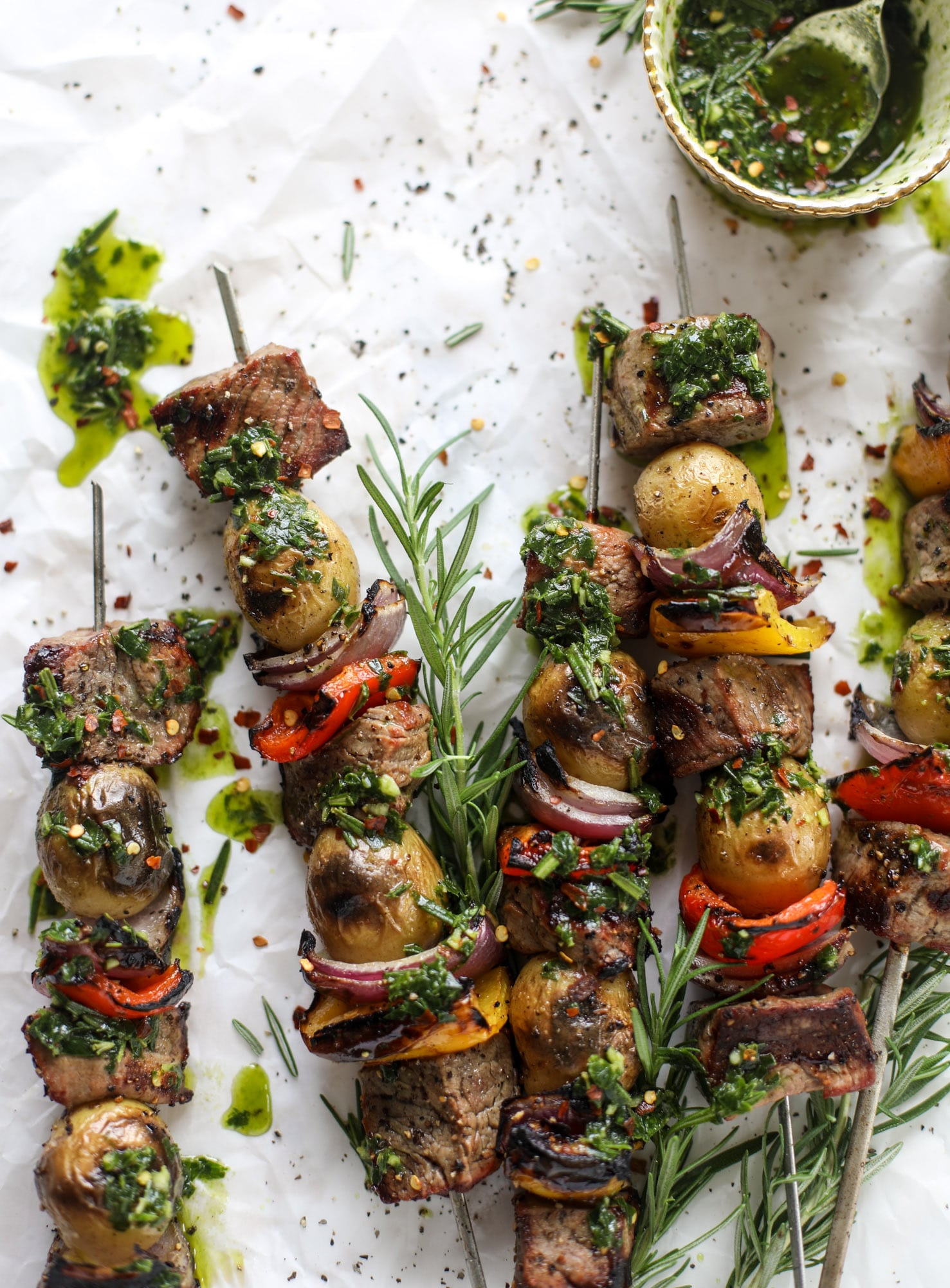 Filet and Potato Skewers