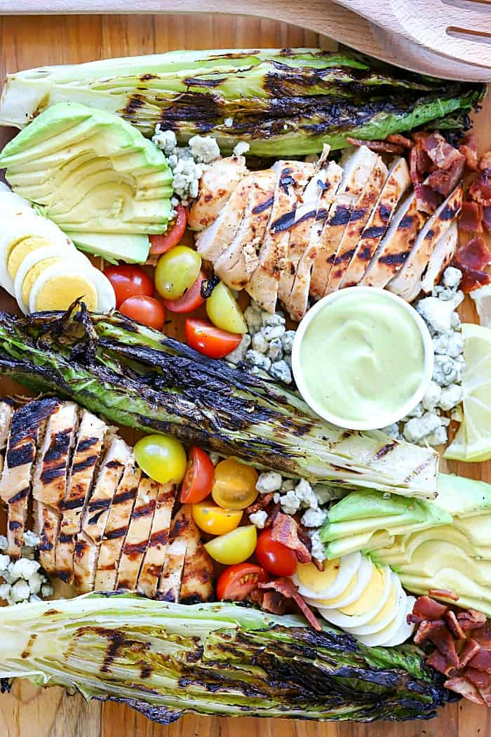 Grilled Cobb Salad with Avocado Dressing
