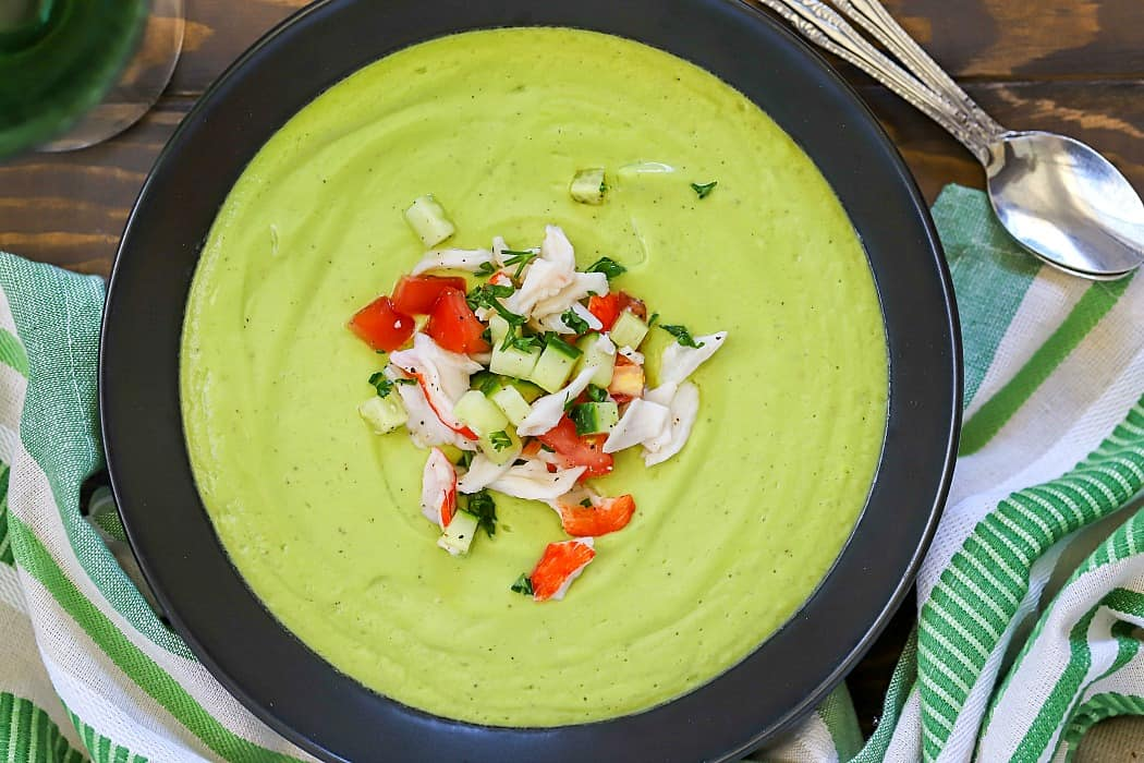 Avocado Soup with Crab