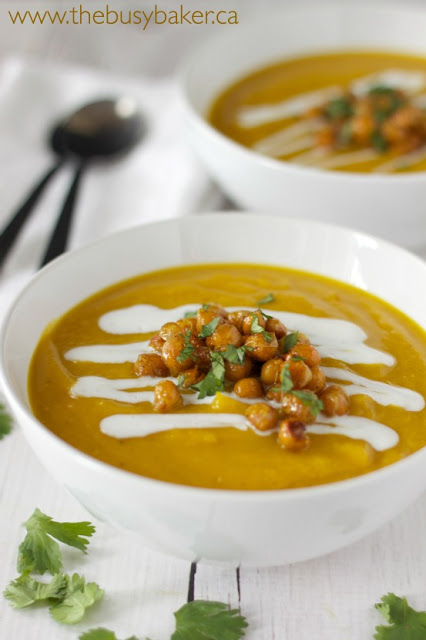 Vegan Butternut Squash Soup with Red Lentils, Roasted Chickpeas, and Coconut Cream