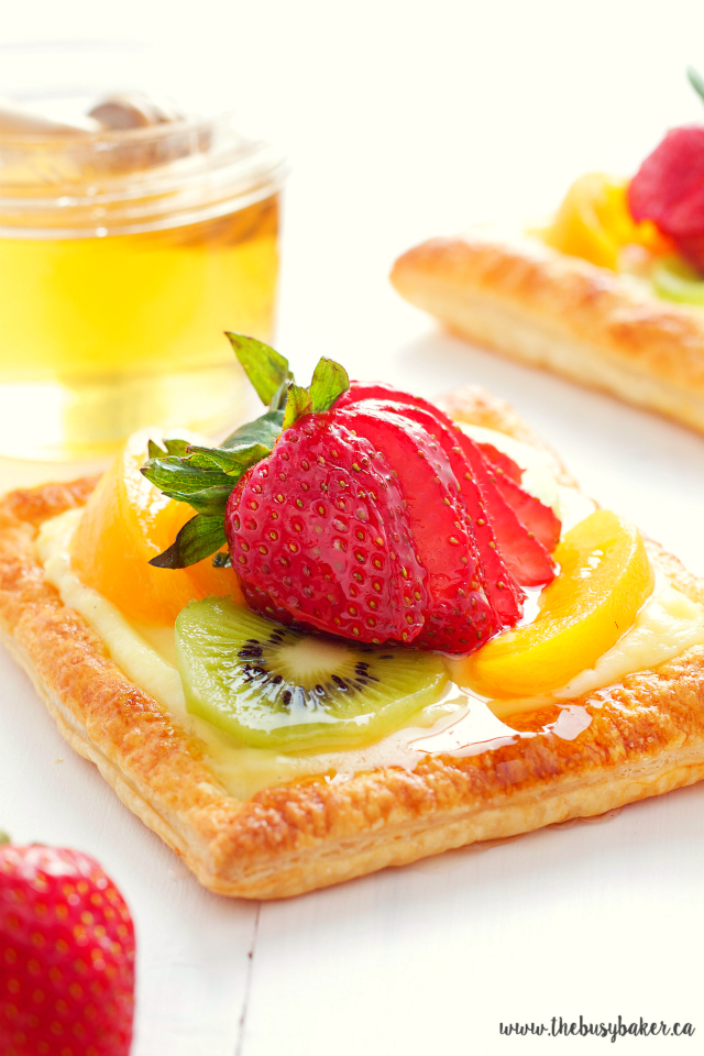 Vanilla Bean Custard Fruit Tarts with Honey Glazed Fruit