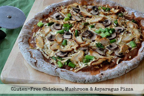 Grilled Chicken, Asparagus, and Mushroom Pizza with Blackbird Bakery Pizza Crust