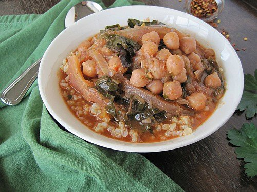 Chickpea, Fennel, & Swiss Chard Stew with Brown Rice