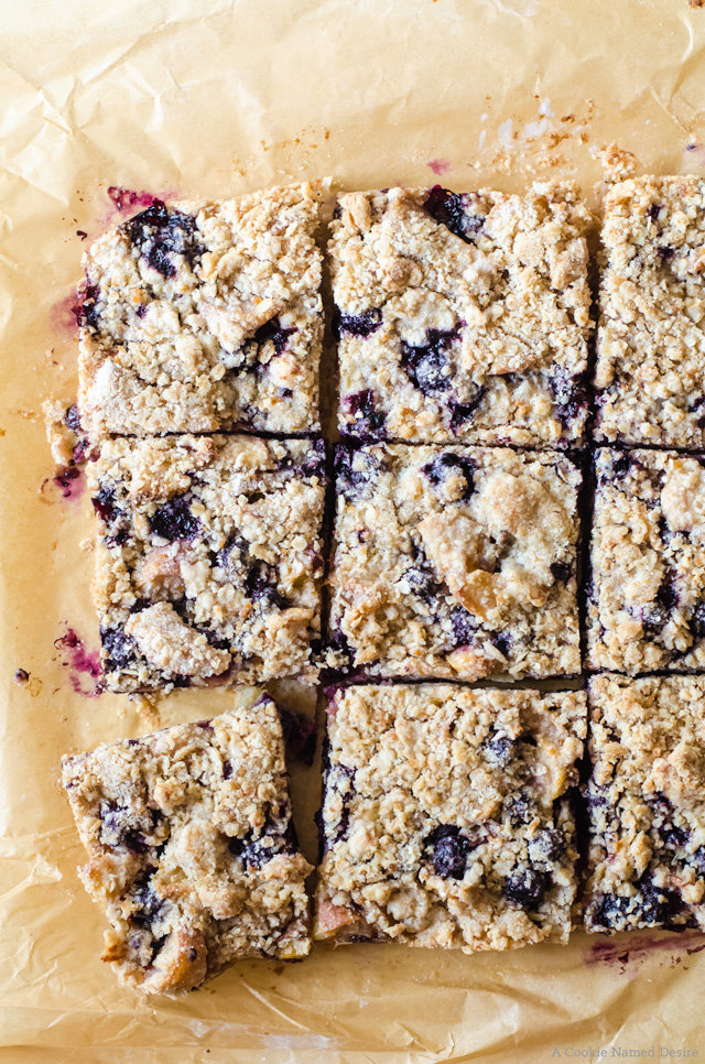 Lavender-scented Peach Blueberry Pie Bars