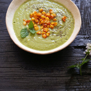 Cold Cucumber Avocado Soup with Smoked Sweet Corn
