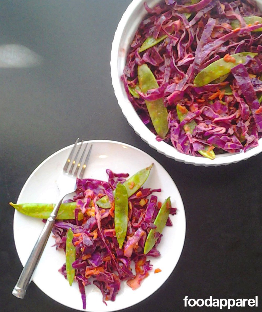 Chipotle Lime Coleslaw with Sugar Snap Peas