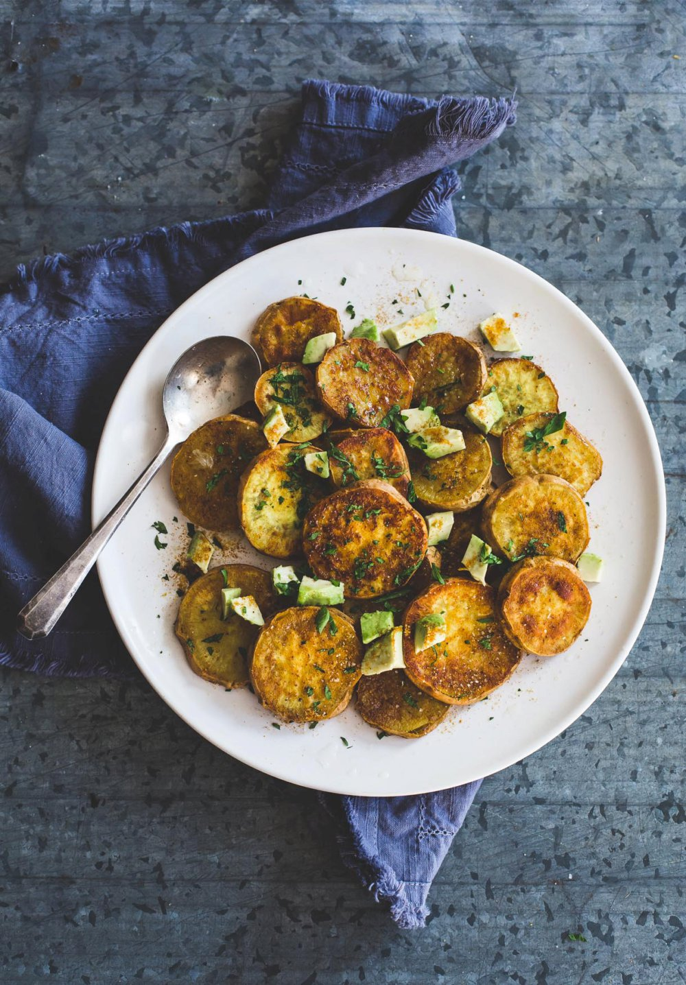 Sweet and Salty Curry Roasted Sweet Potatoes with Avocado