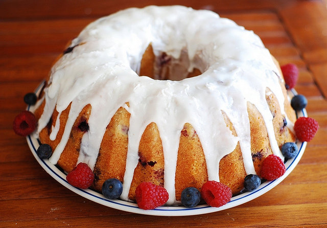 Berry bundt cake with lemon glaze